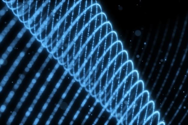 Ilustración 3d que fluye partículas con hermosos efectos de luz de flash
