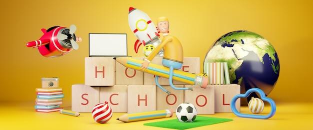 Ilustración 3d de regreso a la escuela