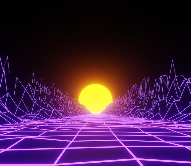 Ilustración 3d render abstracto moderno neón de luz
