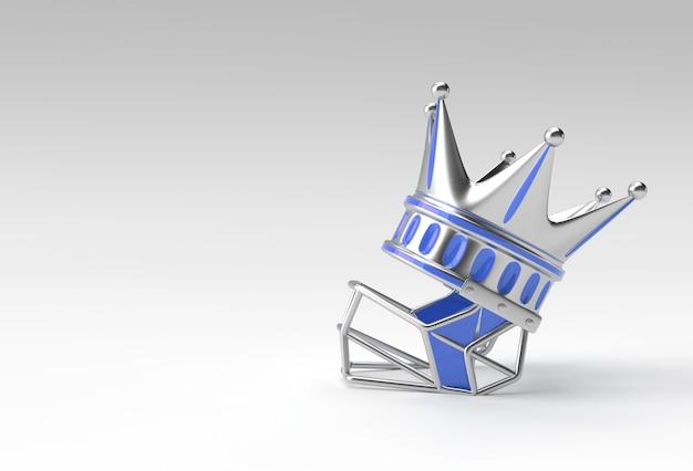 Ilustración 3d render turquesa corona con casco aislado sobre fondo de color