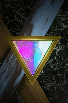 Ilustración 3d. resumen de dirección de flecha de oro, arco iris y negro en el espacio en blanco negro para el logotipo de texto, concepto de superficie futurista de lujo moderno y folleto