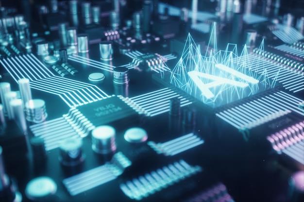 Ilustración 3d resumen inteligencia artificial en una placa de circuito impreso. concepto de tecnología e ingeniería. neuronas de inteligencia artificial. chip electrónico, procesador principal.