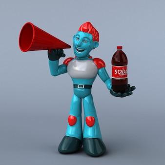 Ilustración 3d de robot rojo con botella de refresco