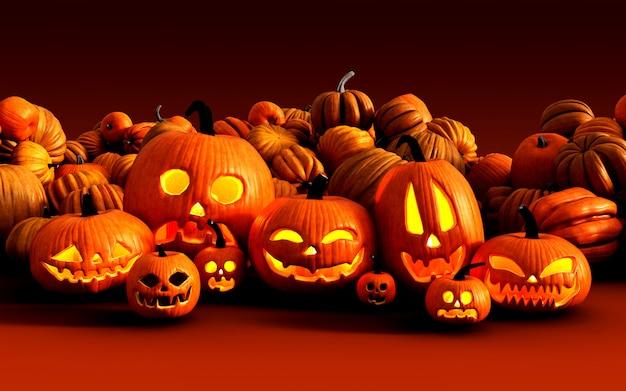 Ilustración 3d scary jack o lantern calabazas de halloween en el mercado de agricultores