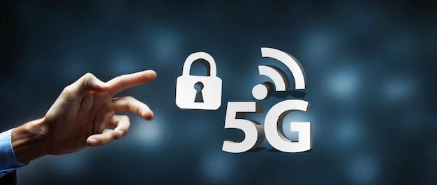 Ilustración 3d de seguridad de internet de bloqueo de contraseña 5g