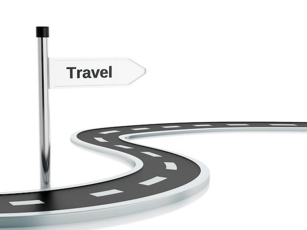 Ilustración 3d de señal de tráfico y carretera