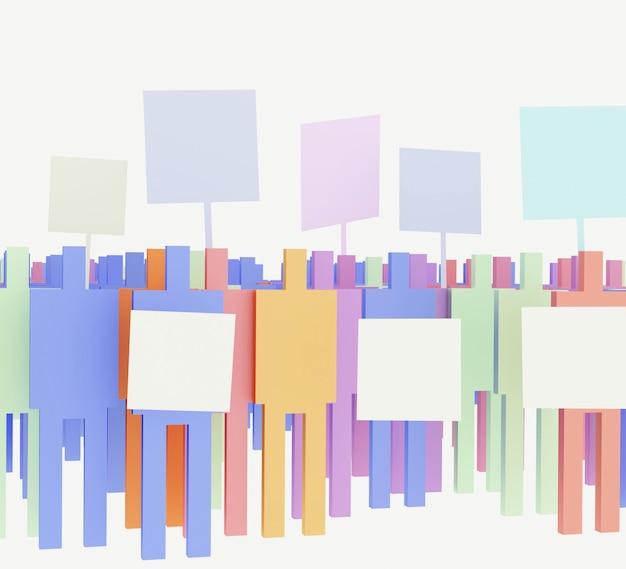 Ilustración 3d de siluetas masculinas con tableros sobre fondo blanco.