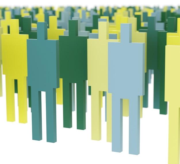 Ilustración 3d de siluetas masculinas en verde y amarillo sobre fondo blanco.