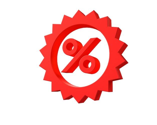 Ilustración 3d. símbolo de porcentaje de descuento sobre fondo aislado.