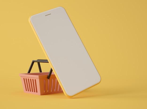 Ilustración 3d smartphone y cesta de la compra.