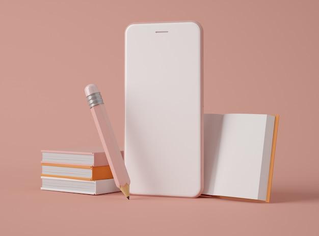 Ilustración 3d smartphone con iconos de educación.