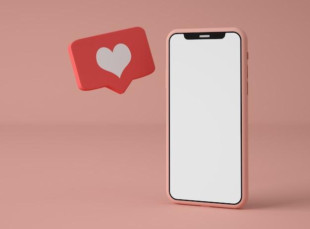 Ilustración 3d smartphone con notificación de redes sociales.