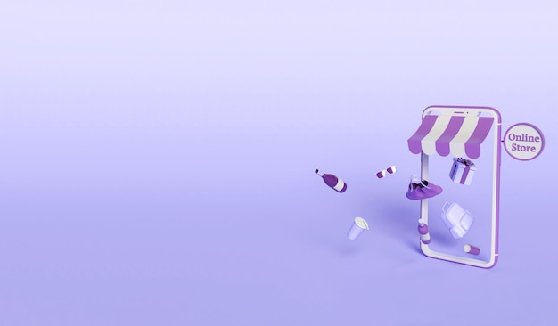 Ilustración 3d. smartphone con productos saliendo de la pantalla. concepto de comercio electrónico y compras en línea.