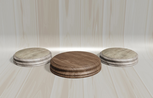 Ilustración 3d soporte de exhibición de madera, soporte de diseño, paleta redonda vacía con fondo de madera curvada marrón para colocación de productos y publicidad