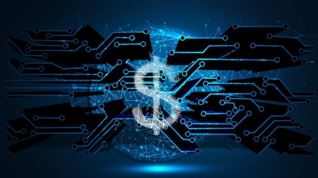 Ilustración 3d de tecnología de finanzas bancarias de negocios de moneda de dólar