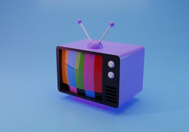 Ilustración 3d de televisión antigua aislada