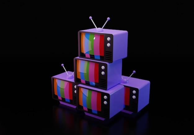 Ilustración 3d de televisores anticuados aislados