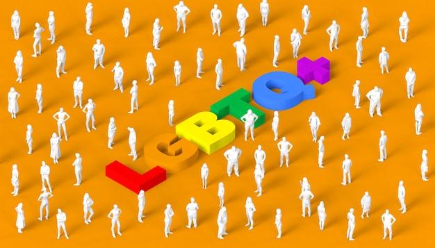 Ilustración 3d con el texto lgbtq con personas para la celebración del día del orgullo.