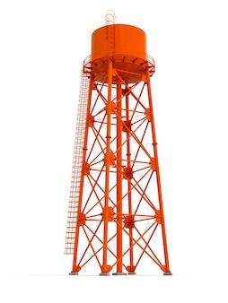 Ilustración 3d de la torre de agua sobre fondo blanco depósito de recursos hídricos