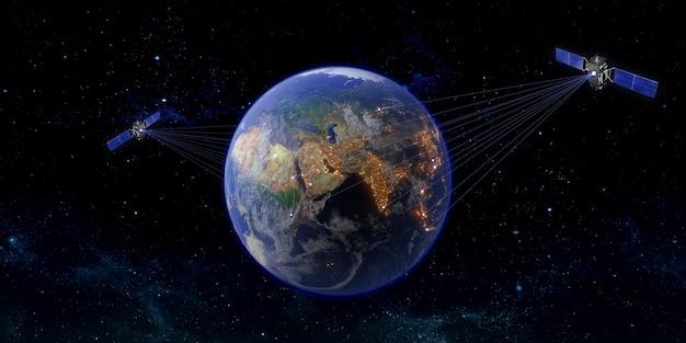 Ilustración 3d de transmisión por satélite en todo el mundo por satélite de comunicación