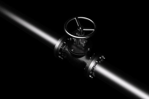 Ilustración 3d de tubería de gas con válvula. aislado en negro.