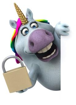 Ilustración 3d de unicornio divertido