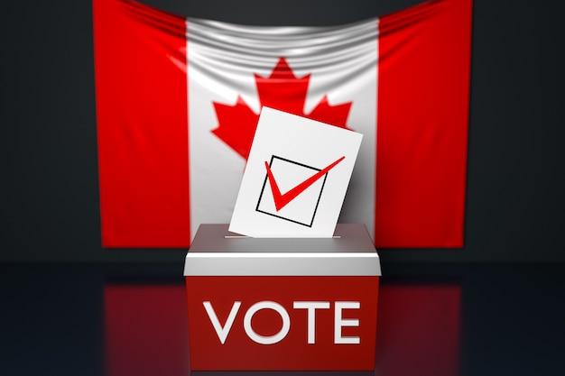 Ilustración 3d de una urna con la bandera nacional de canadá en la superficie. concepto de votación y elección