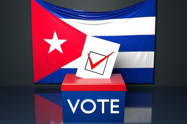 Ilustración 3d de una urna con la bandera nacional de cuba en la superficie.