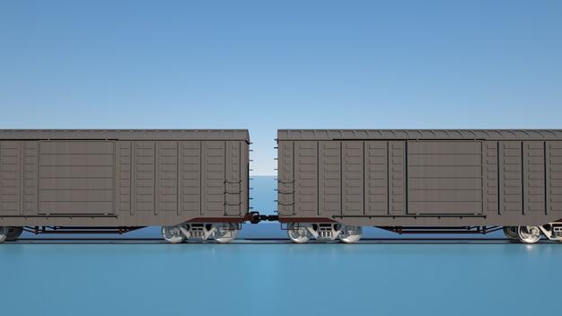 Ilustración 3d vagones de mercancías por ferrocarril. logística, transporte de carga, elementos de diseño gráfico.