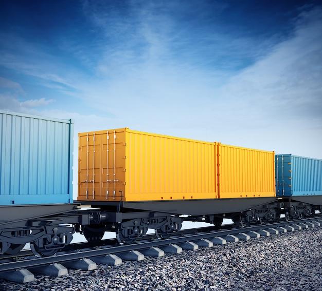 Ilustración 3d de vagones de tren de mercancías en el fondo del cielo