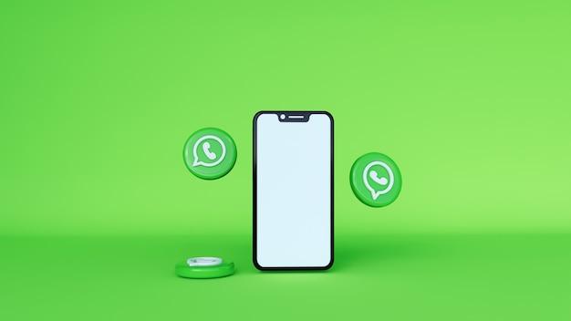 Ilustración 3d de whatsapp por teléfono