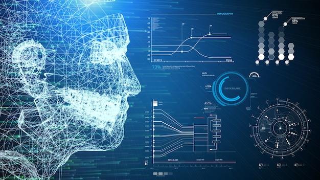Ilustración 3d wireframe humano ai sistema y escáner de información infográfica interfaz hud sobre fondo azul.