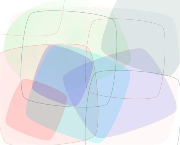 Ilustración abstracta de cuadrados huecos multicolores translúcidos superpuestos sobre fondo blanco.