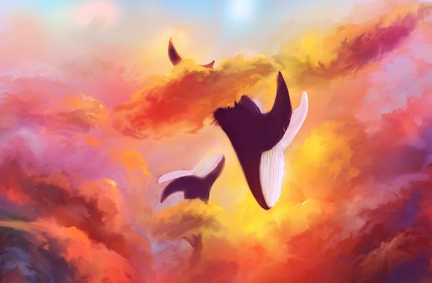 Ilustración abstracta de dos ballenas en un fondo de cielo ardiente