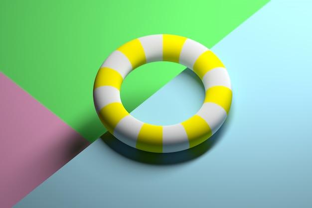 Ilustración abstracta con la forma toro blanca y amarilla rayada que pone en la superficie. concepto de vacaciones de verano lifebuoy.
