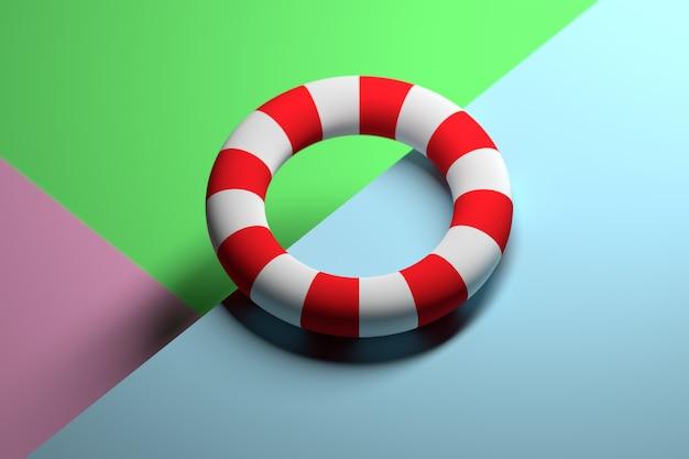 Ilustración abstracta con la forma toro blanca y roja rayada que pone en la superficie. concepto de vacaciones de verano lifebuoy.