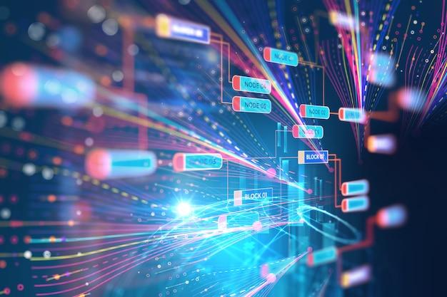 Ilustración abstracta de visualización futurista de datos grandes