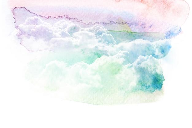 Ilustración acuarela del cielo con nubes.