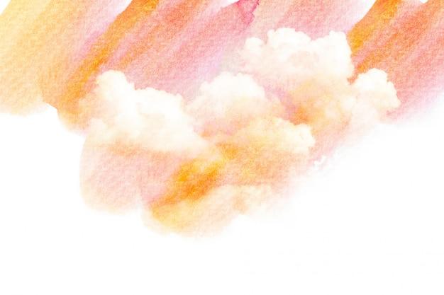 Ilustración acuarela de cielo con nubes.