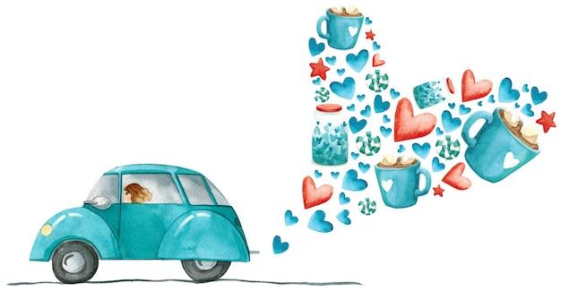 Ilustración de acuarela de coche