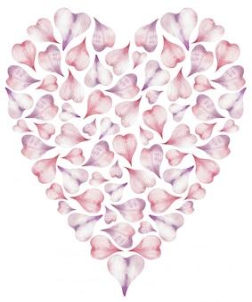 Ilustración acuarela de corazón hecho de pétalos de rosa en forma de corazón.