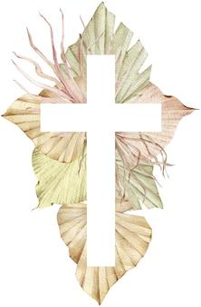 Ilustración acuarela de una cruz decorada con hojas de palmeras tropicales
