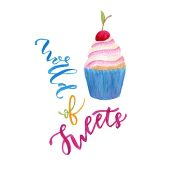 Ilustración de acuarela cupcake. dulce arte