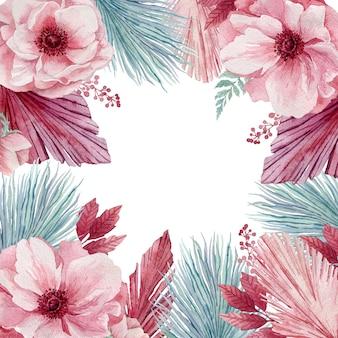 Ilustración acuarela de delicadas flores de anémona y ramitas tropicales azules. una corona de flores rosadas y hojas de palma azul.