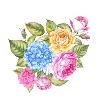 Ilustración de acuarela flor flor rosa. lindas rosas rosadas en estilo vintage para el diseño. composición de guirnaldas hechas a mano. acuarela ilustración botánica.