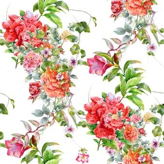 Ilustración acuarela de hojas y flores, patrones sin fisuras sobre fondo blanco.