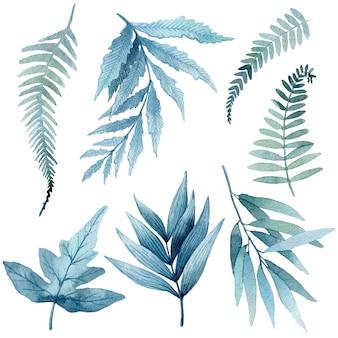 Ilustración acuarela de hojas tropicales azules, ramas verdes, helecho