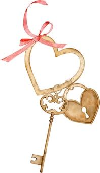Ilustración acuarela de una llave de oro y cerradura colgando en el anillo en forma de corazón con un lazo rojo.