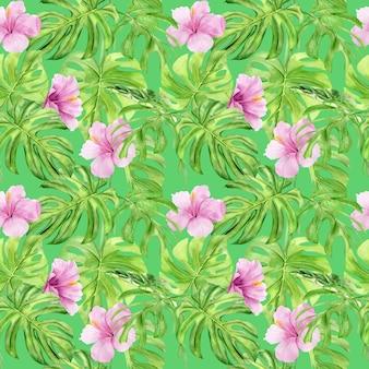 Ilustración acuarela de patrones sin fisuras de hojas tropicales y flor de hibisco