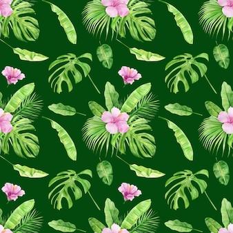 Ilustración acuarela de patrones sin fisuras de hojas tropicales y flor de hibisco.